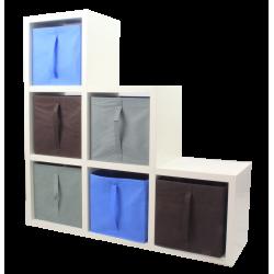 COMPO Étagère 6 cases H108 - Ep.30 mm + 6 cubes Bleu, gris & chocolat KUBIN