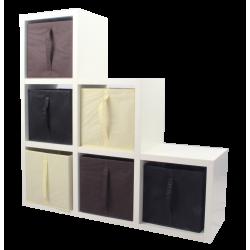 COMPO Étagère 6 cases H108 - Ep.30 mm + 6 cubes Ecru, noir & chocolat KUBIN