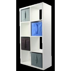 COMPO Étagère 8 cases H138,8 - Ep.30 mm + 4 cubes Bleu, gris & chocolat KUBIN
