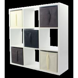 Étagère 9 cases - Blanc - 105 x 105 cm - 5 cubes de rangement KUBIN