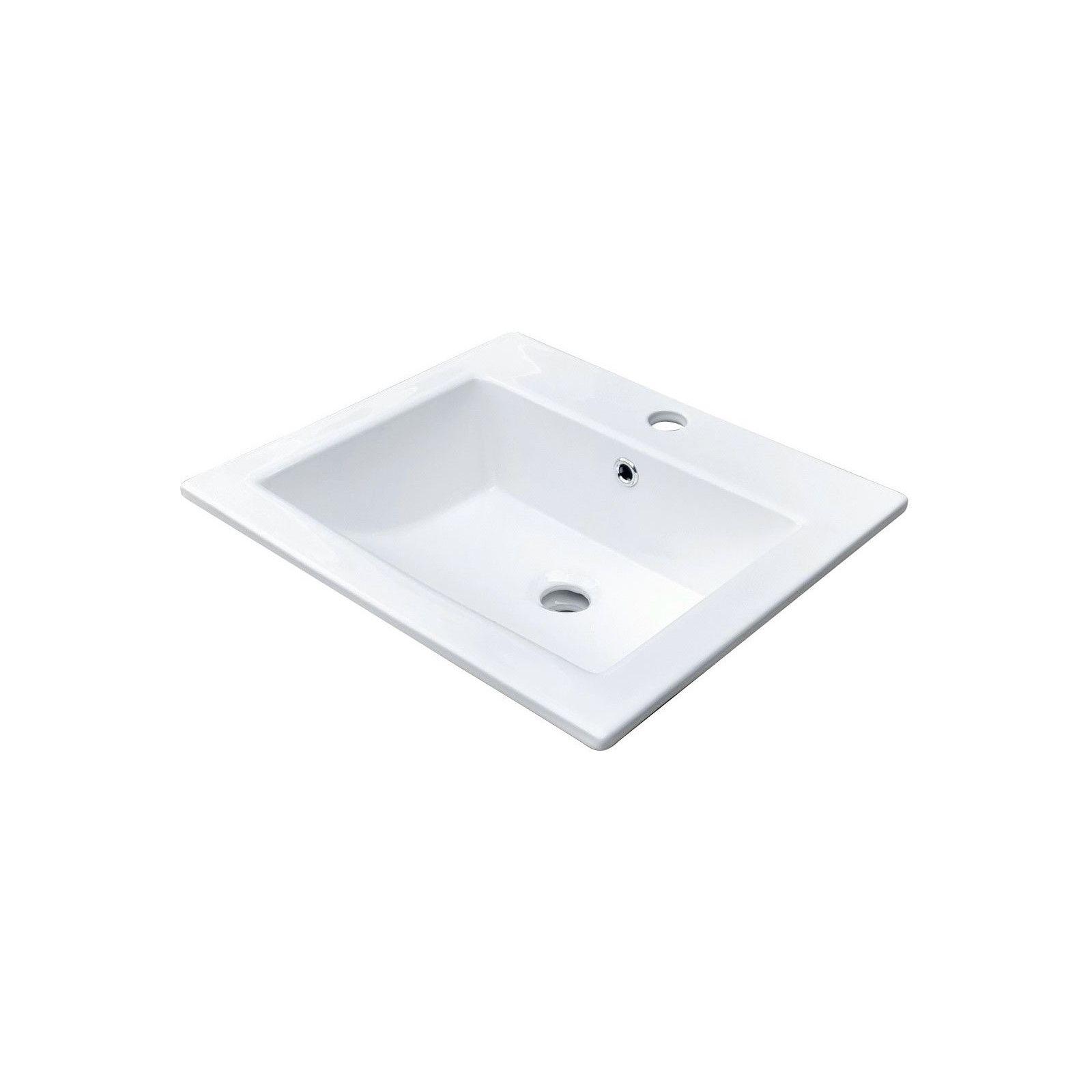 Lot de 2 vasques blanches à encastrer Céramique L50 LINA