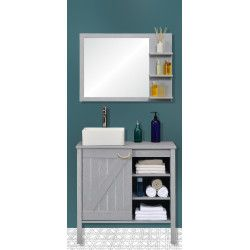Ensemble meuble sous-vasque SDB 85 cm + miroir MARINA