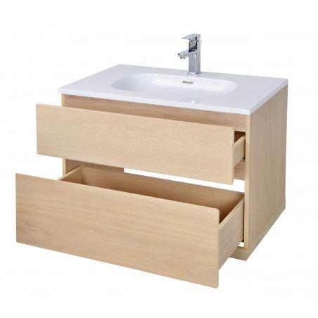 Meuble salle de bain 80 cm à suspendre chêne ENIO