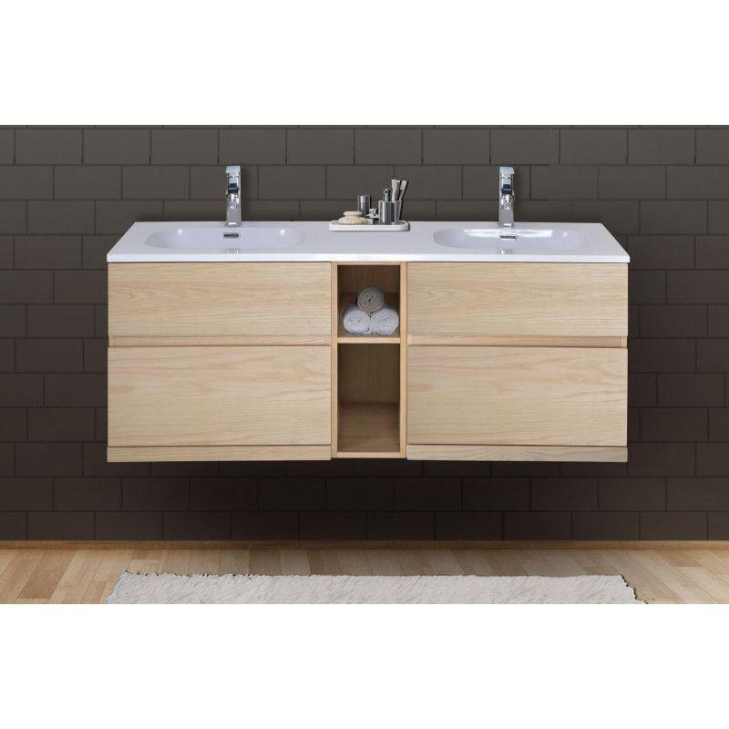 Meuble Salle De Bain Bois De Chêne Double Vasque 140 Cm Enio