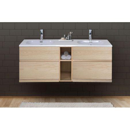 Meuble salle de bain 140 cm à suspendre chêne ENIO
