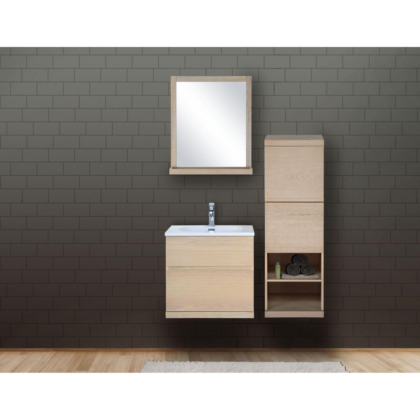 Ensemble salle de bain chêne 60 cm meuble + vasque + miroir + demi-colonne ENIO
