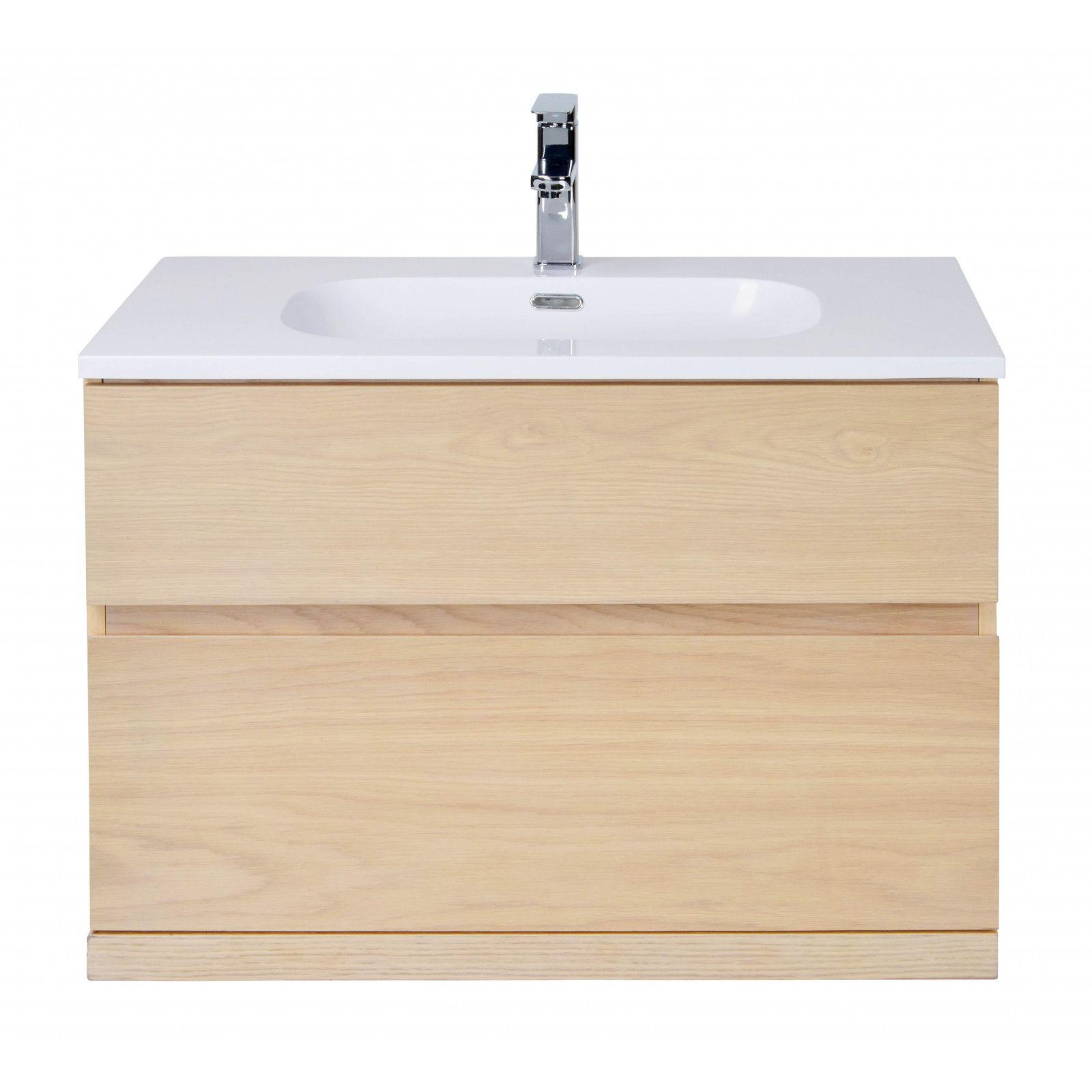 Ensemble salle de bain chêne 80 cm meuble + vasque + miroir + demi-colonne ENIO