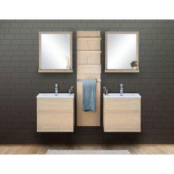 Ensemble salle de bain chêne 2 meubles 60 cm + 2 miroirs + 1 module rangement ENIO