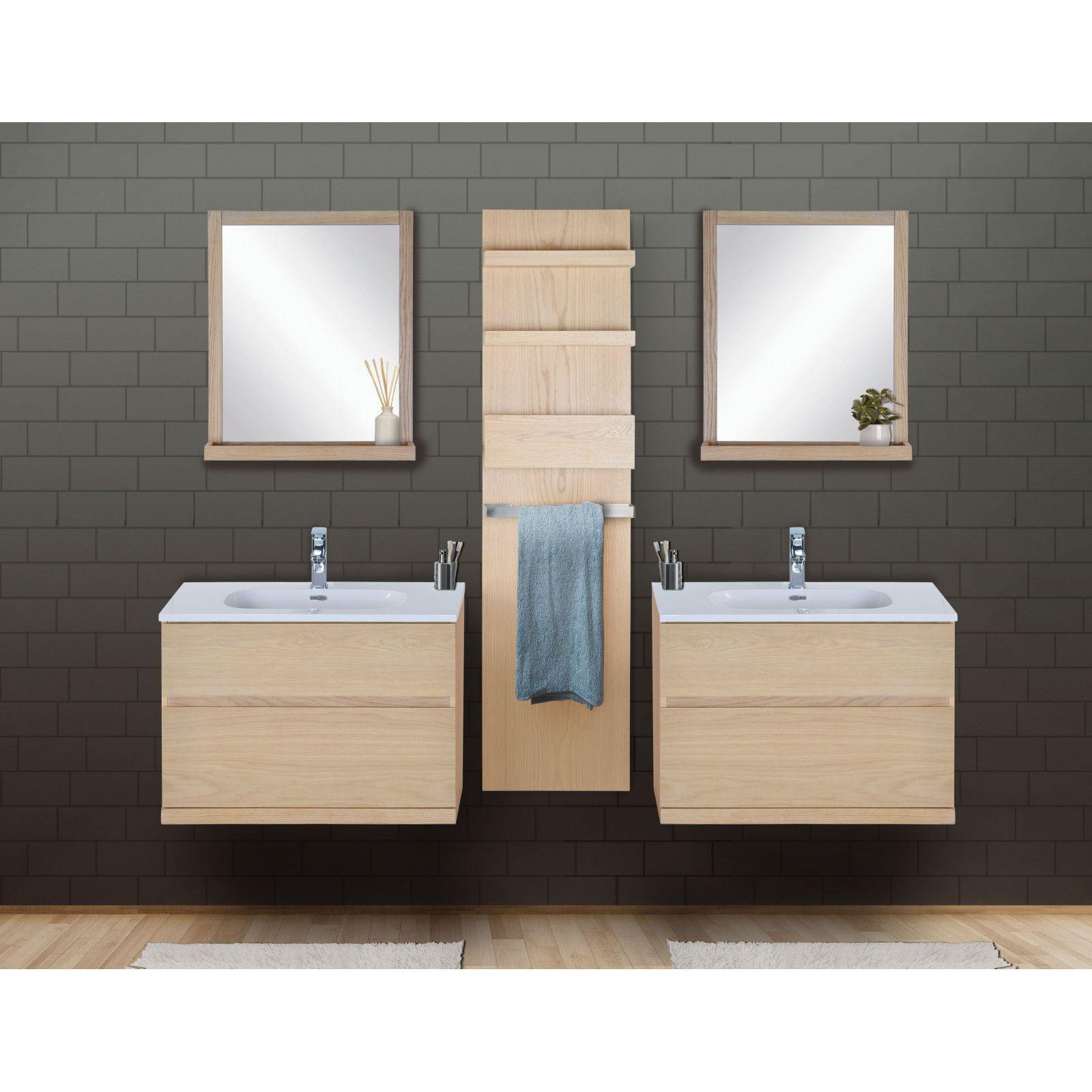 Ensemble salle de bain chêne 2 meubles 80 cm + 2 miroirs + 1 module rangement ENIO