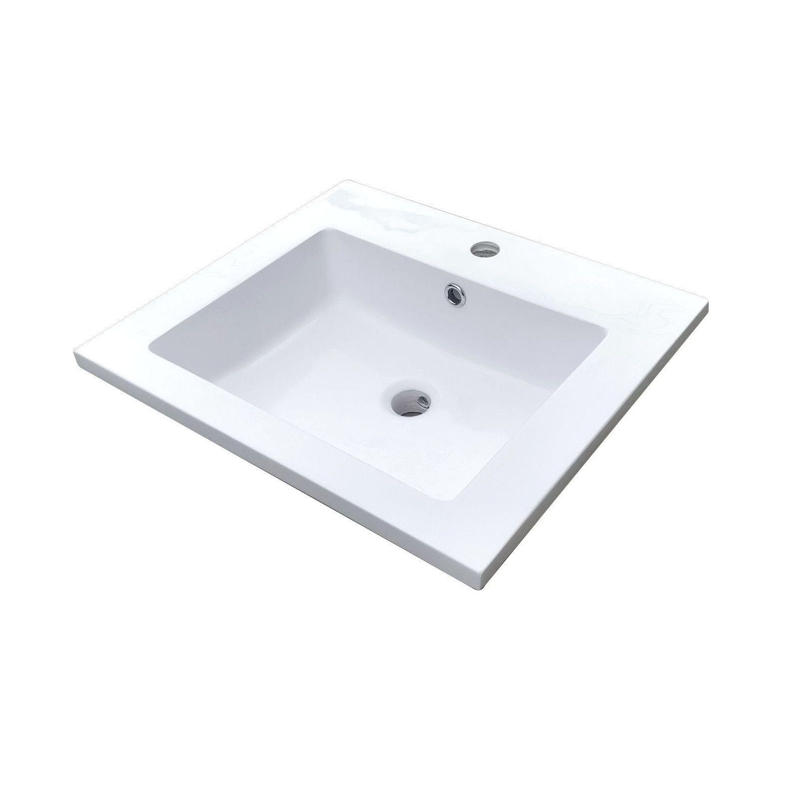 Vasque blanche à encastrer - Résine L50 ARIA