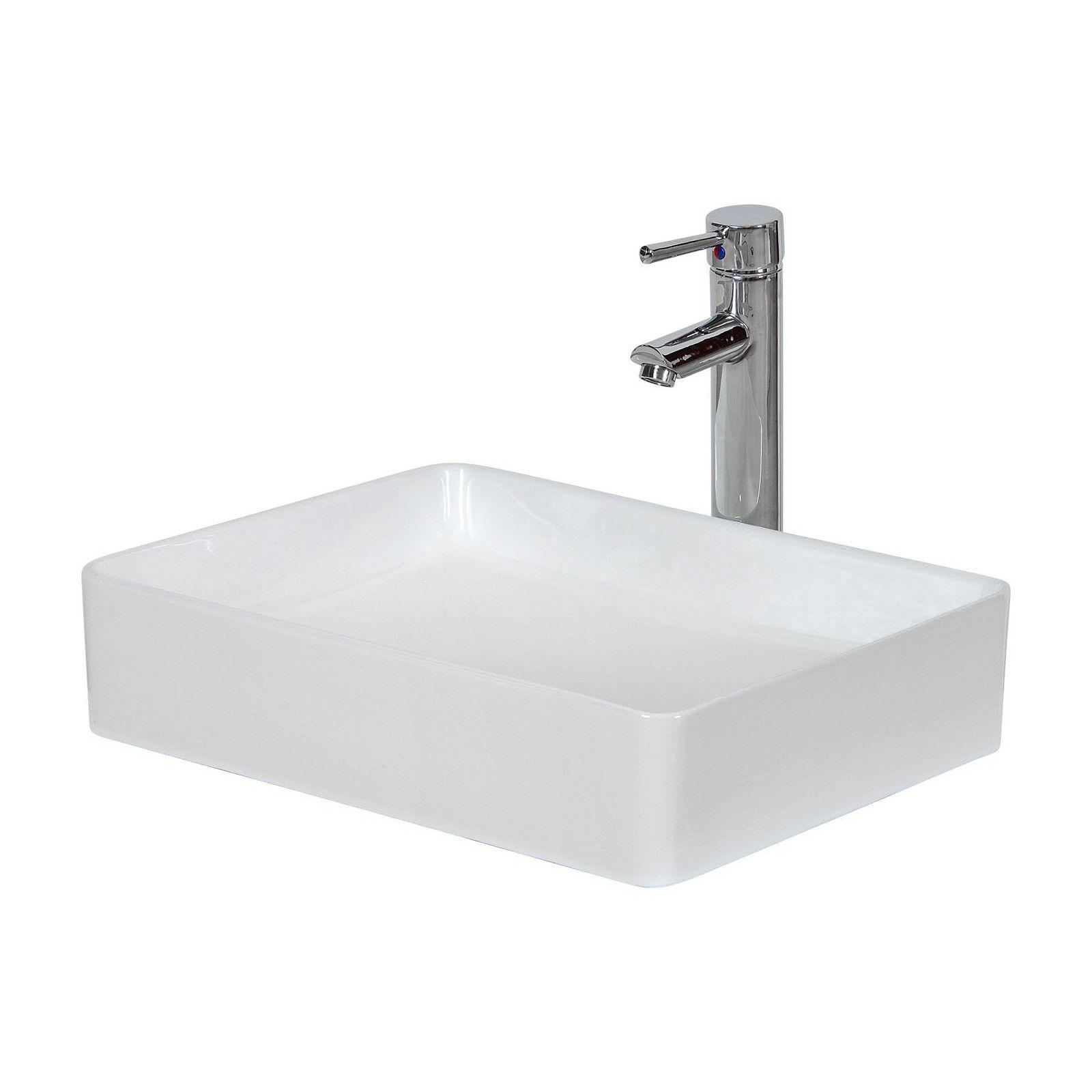 Vasque Salle de bain à poser Céramique Blanche L47 x P36 x H12 cm ROMY