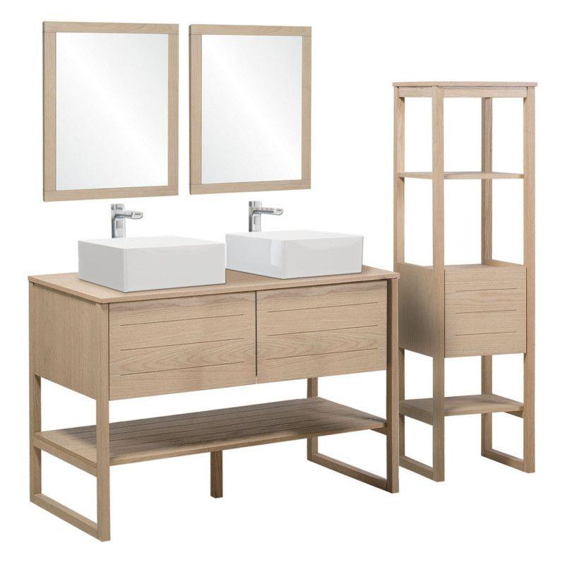Ensemble de Salle De Bain Meuble Chêne 120 cm + Colonne de rangement  ATOLL + 2 Miroirs + 2 Vasques