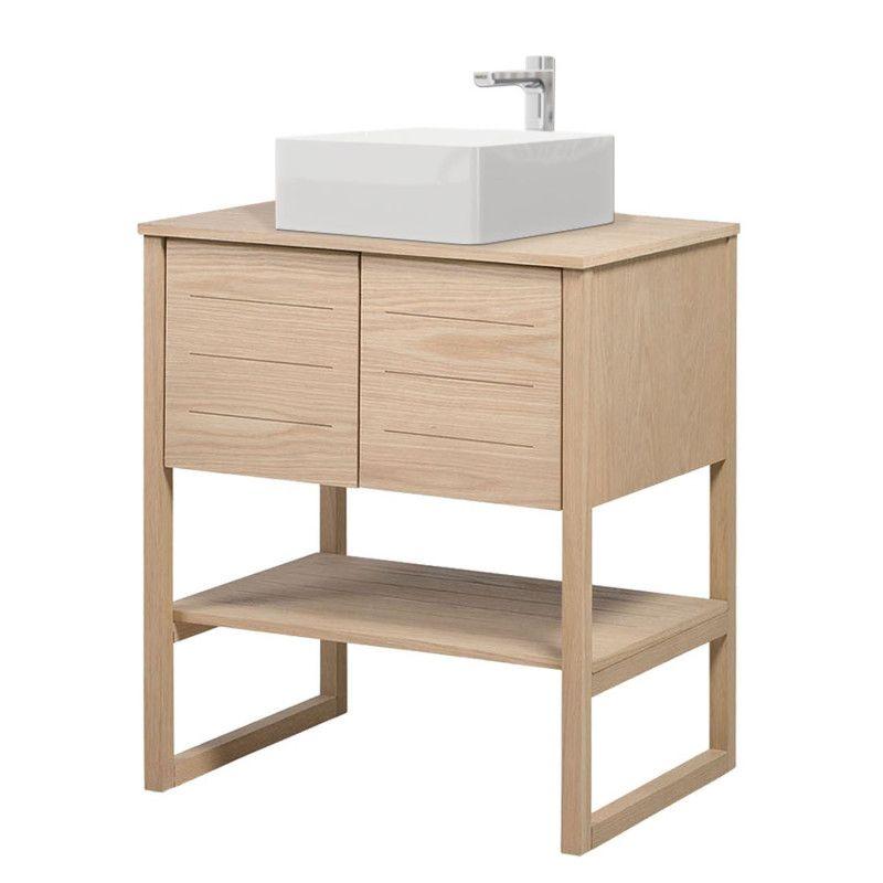 Meuble salle de bain Chêne naturel 70 cm ATOLL