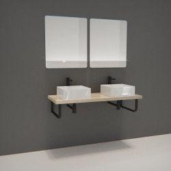 Ensemble de Salle de Bain WILL - Plan suspendu 120 cm + Equerres porte serviettes + 2 Vasques + 2 Miroirs