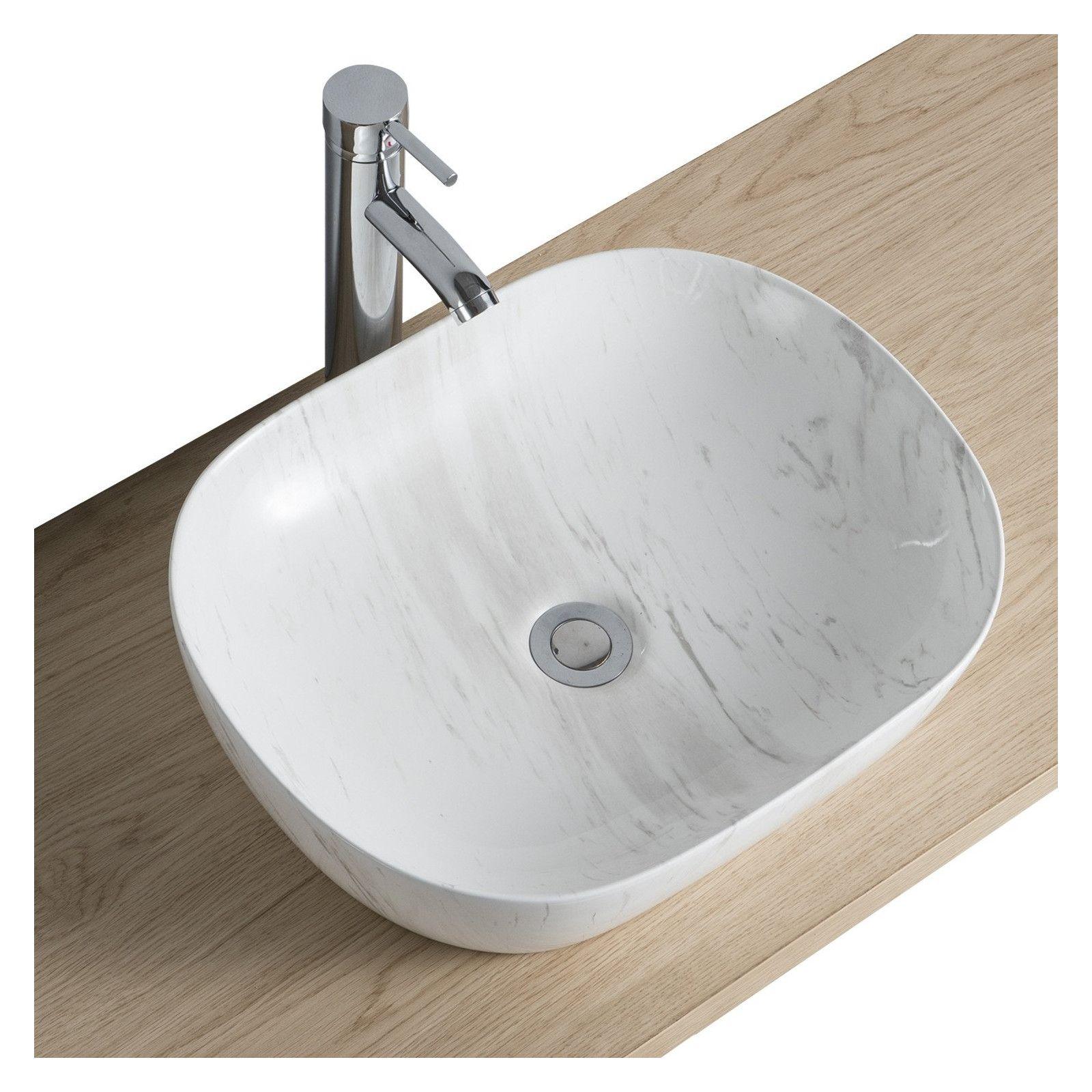 Vasque Salle de Bain à Poser en Céramique Imitation Marbre L46 x P37 VADIM