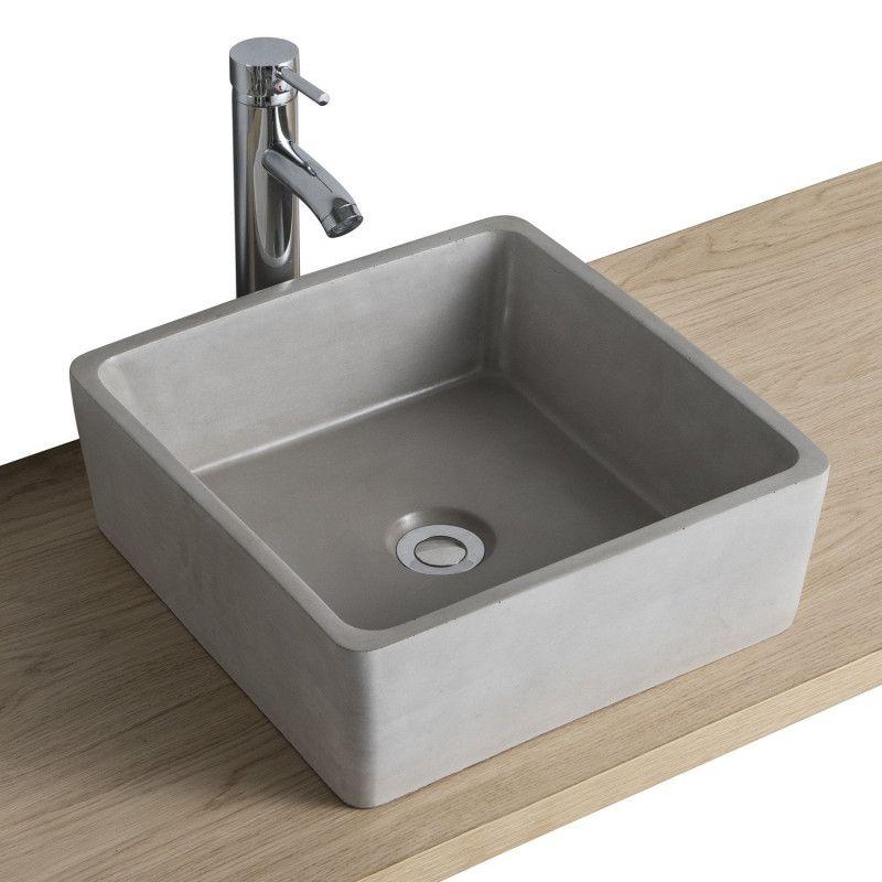 Vasque Salle de Bain à Poser Carrée en Béton Gris Clair L38 cm BERYL