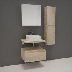 Ensemble de Salle de Bain WILL - Plan suspendu + Equerres + 3 Meubles de rangement + Vasque + Armoire de toilette