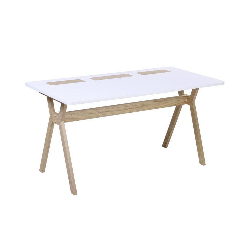Bureau scandinave Bois/Blanc 150 cm Mobox