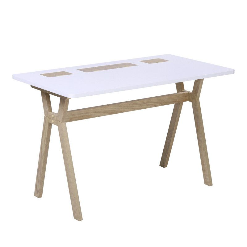 Bureau scandinave Bois/Blanc 120 cm Mobox