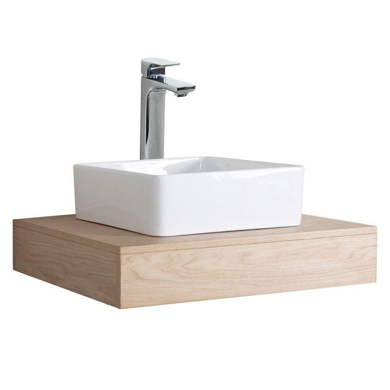 Plan de toilette Salle de Bain à suspendre WILL - 60 cm - Ep. 12 cm - Décor Chêne