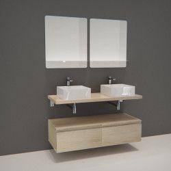 Ensemble de Salle de Bain WILL - Plan suspendu 120 cm + Equerres invisibles + Meubles tiroir + Vasques + Miroirs