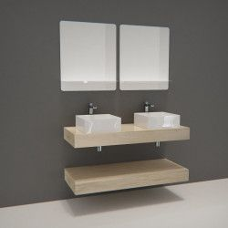 Ensemble de Salle de Bain WILL - Plan épais 120 cm + Equerres invisibles + 2 Vasques + 2 Miroirs