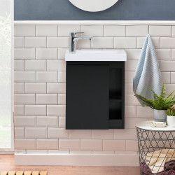 Meuble Lave-mains Noir Carbone avec Vasque Blanche