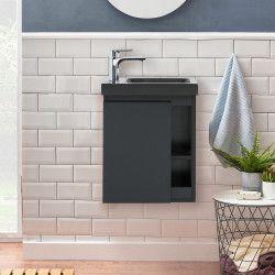 Meuble Lave-mains Noir Carbone avec vasque noire