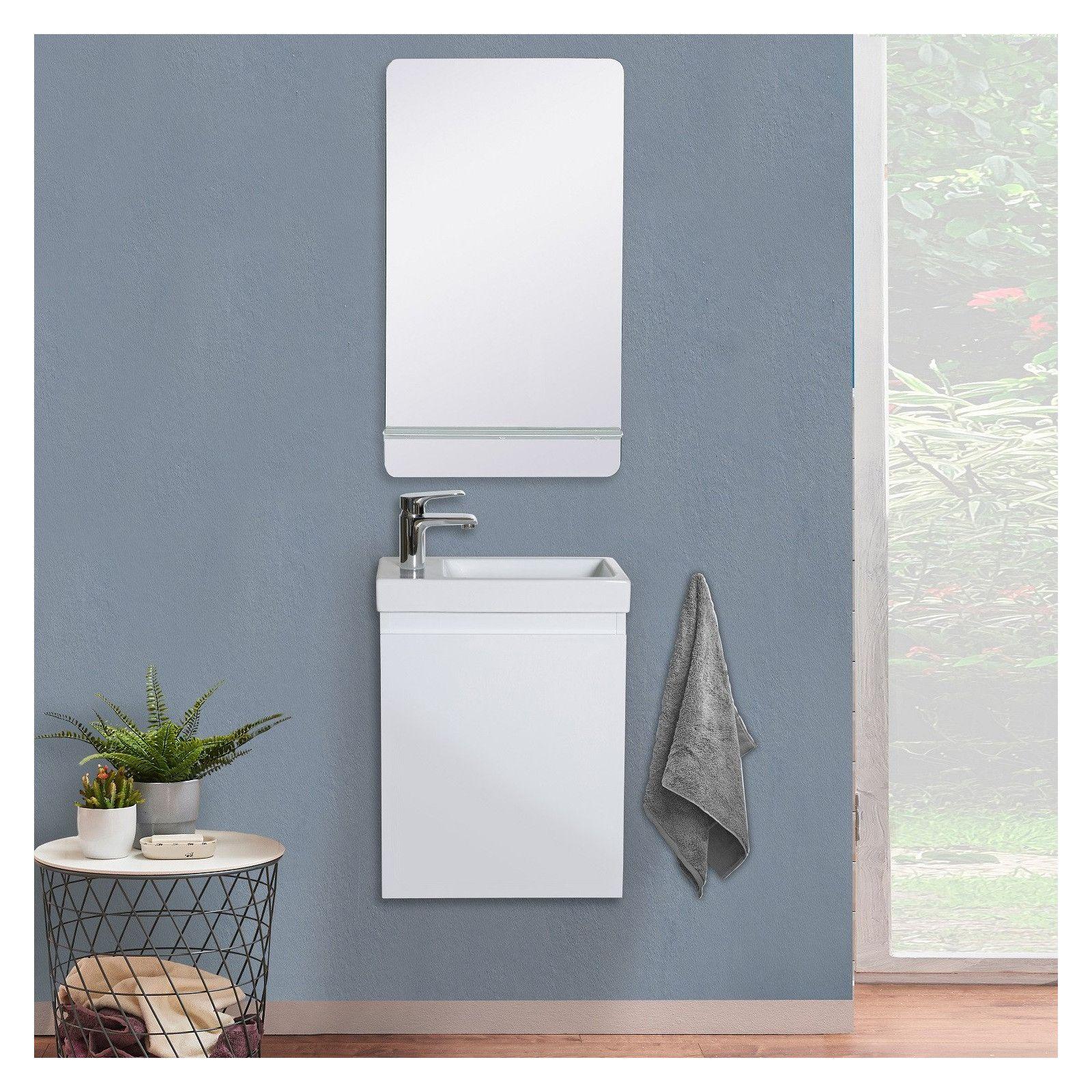Lave-mains LISA + Miroir Mural L40 cm tablette Blanche