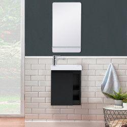Lave-mains Noir Carbone HAMPTON + Vasque Blanche + Miroir L40 cm avec tablette Blanche