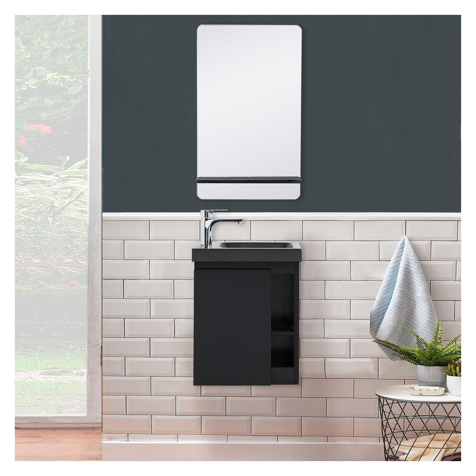 Lave-mains Noir Carbone HAMPTON + Vasque Noire + Miroir L40 cm avec tablette Noire