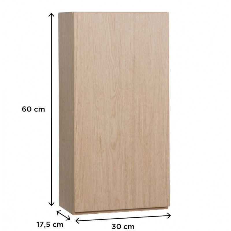 Module de rangement fermé WILL - Meuble haut Salle de Bain 1 porte - Décor Chêne ou Blanc Laqué