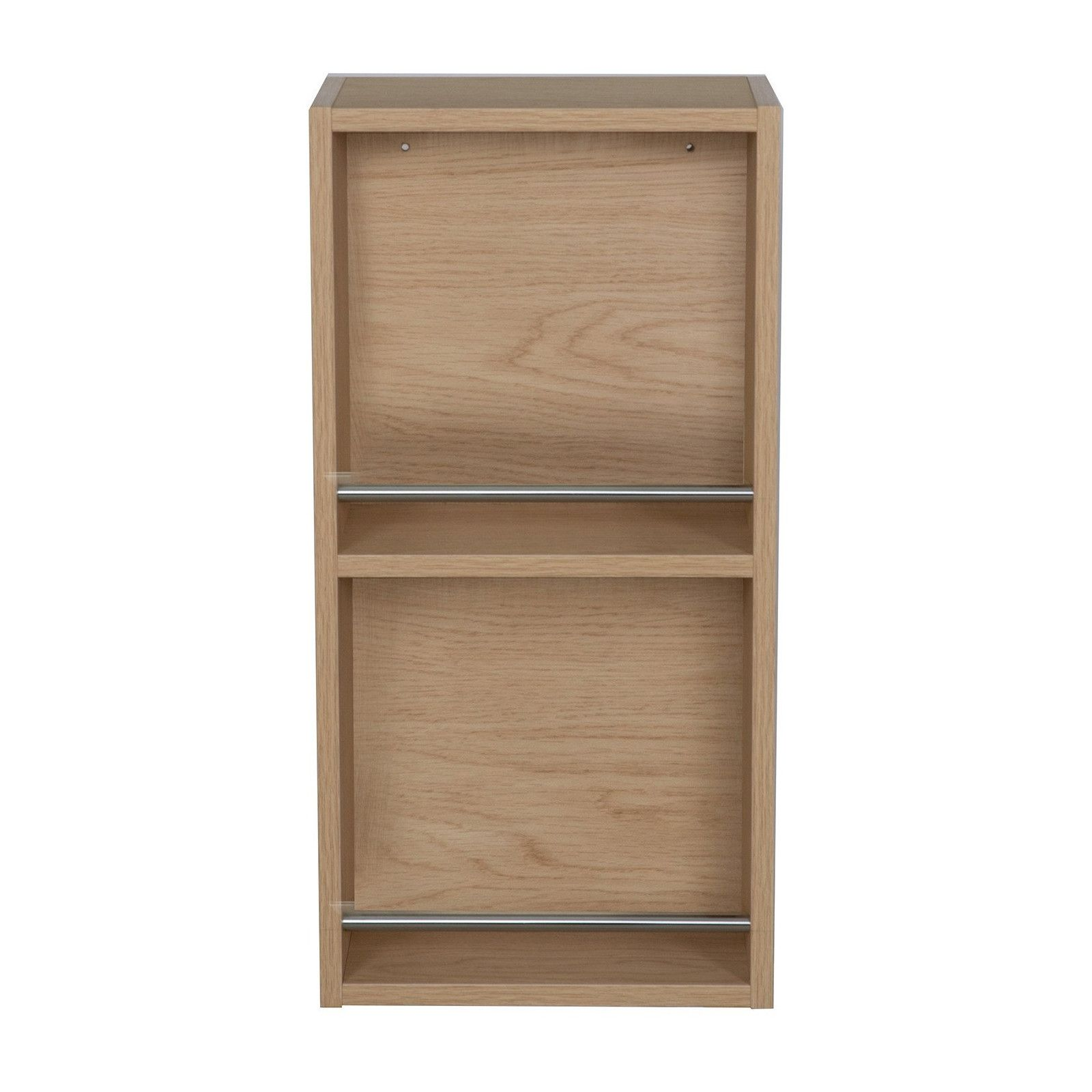 Module de rangement ouvert WILL - Meuble haut Salle de Bain 1 porte - Décor Chêne ou Blanc Laqué