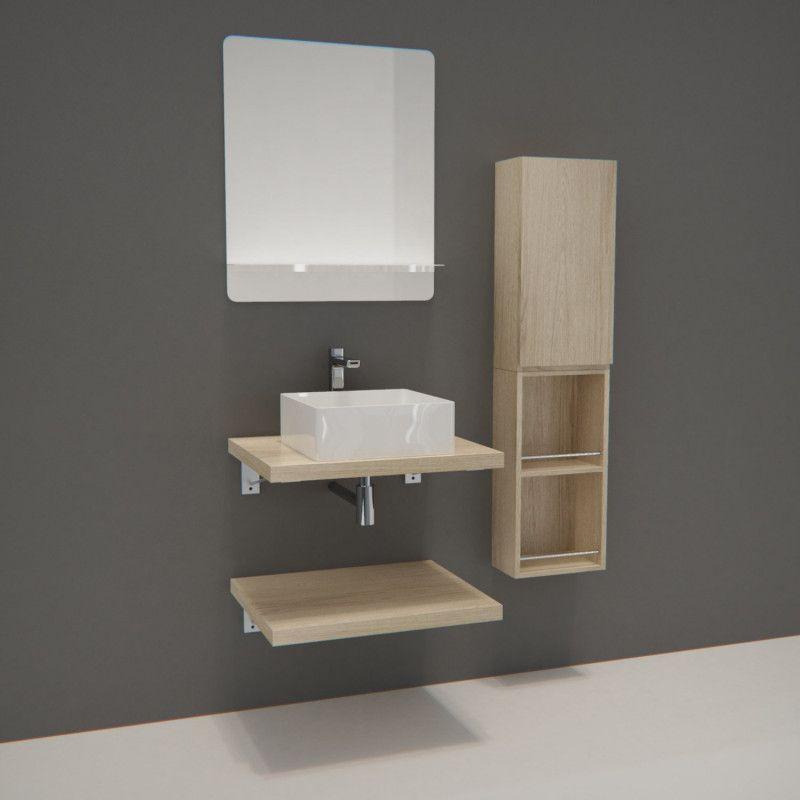 Ensemble de Salle de Bain WILL - Plan suspendu 60 cm x 2 + Equerres invisibles + Vasque + Miroir