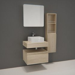 Ensemble de Salle de Bain WILL - Plan suspendu + Equerres + Meubles de rangement + Vasque + Armoire de toilette