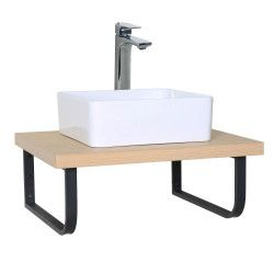 Plan de toilette suspendu pour vasque WILL - 60 cm + Equerres Métal Noir Mat