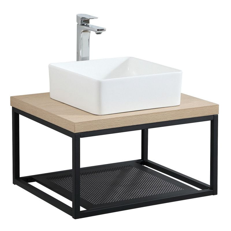 Plan de toilette suspendu pour vasque WILL - Ep. 12 cm L60 cm + Structure Métal Noir Mat - Décor Chêne / Effet Béton