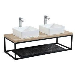 Plan de toilette suspendu pour vasque WILL - Ep. 12 cm L120 cm + Structure Métal Noir Mat - Décor Chêne / Effet Béton