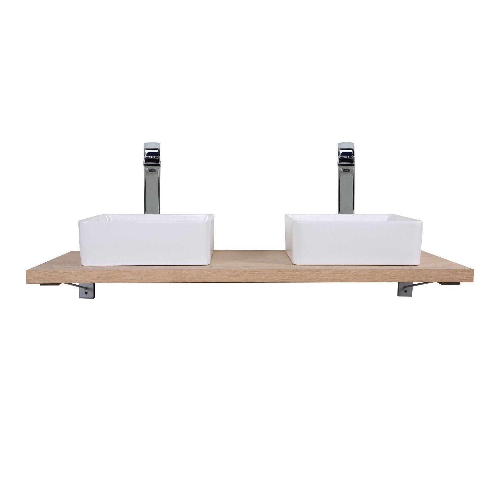 Plan de toilette suspendu pour vasque WILL - 120 cm + Equerres Invisibles - Décor Chêne / Effet Béto