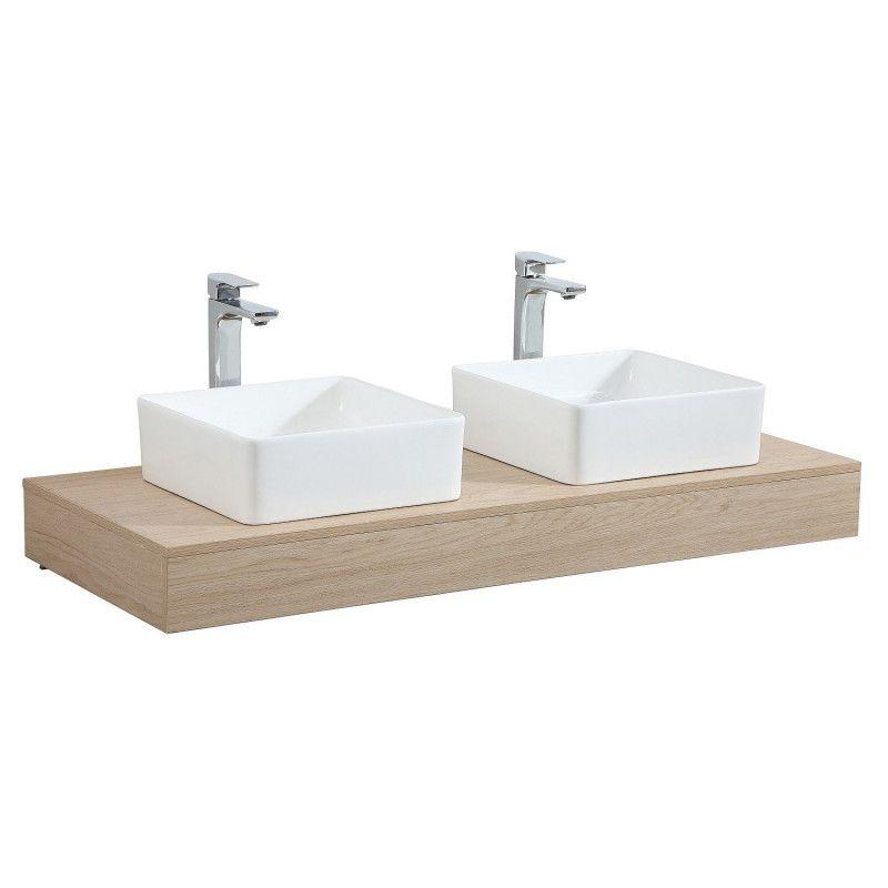 Plan de toilette suspendu pour vasque WILL - 120 cm - Ep. 12 cm + Equerres invisibles - Décor Chêne