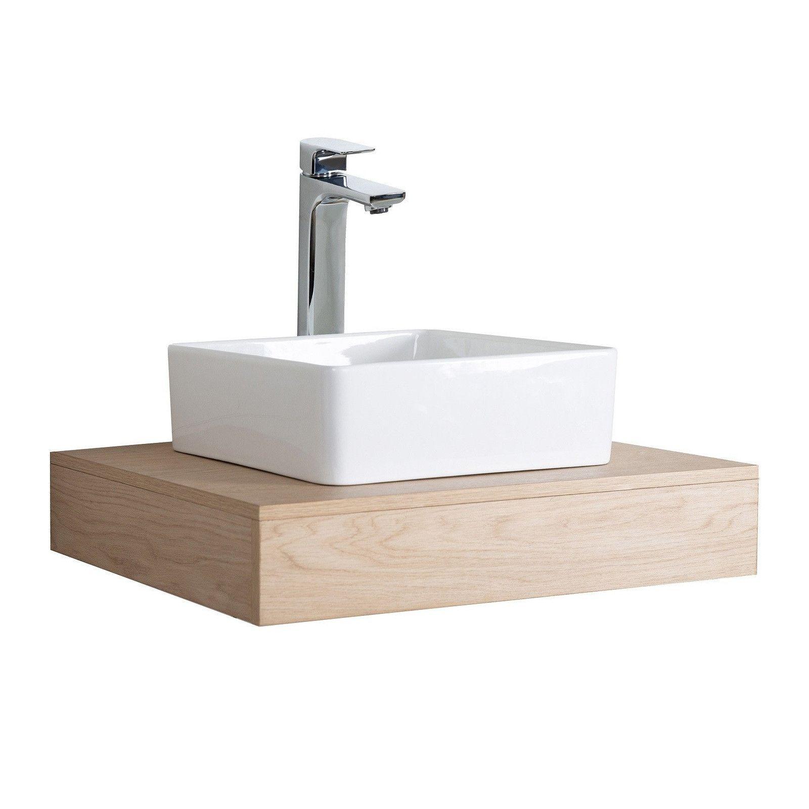 Meuble de Salle de Bain WILL - Plan suspendu 60 cm + Vasque + Miroir + Meuble tiroir + Equerres