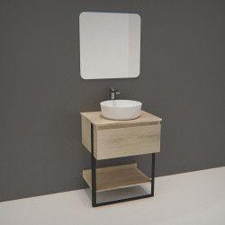 Meuble de Salle de bain 60cm Bois et Métal + Vasque Blanche UMA + Miroir - NINA