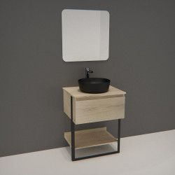 Meuble de Salle de bain 60 cm Bois et Métal + Vasque Noire UMA + Miroir - NINA