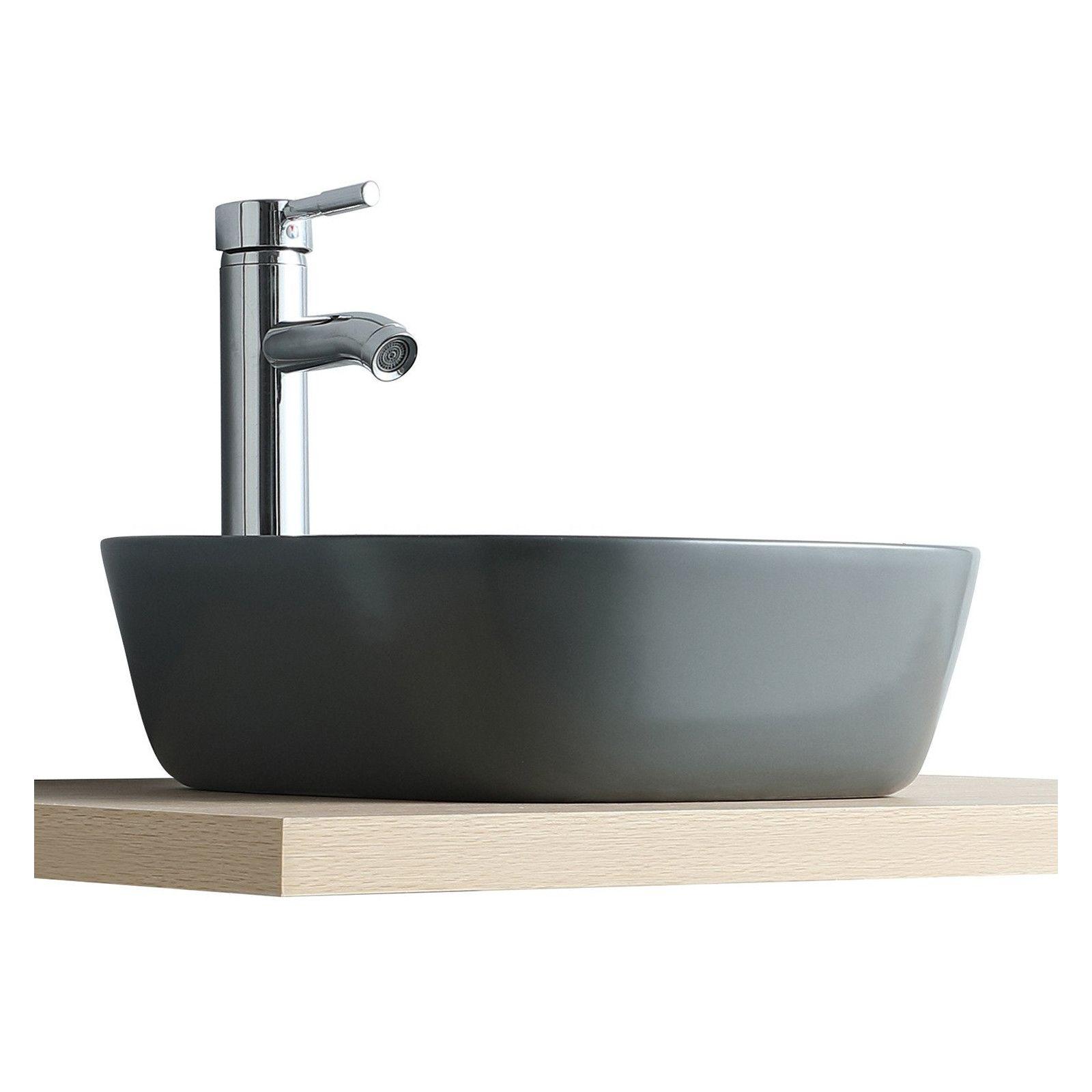 Vasque Salle de Bain à poser carrée 37 cm Gris Anthracite - MIA