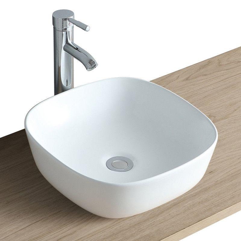 Vasque Salle de Bain à poser carrée 37 cm Blanc - MIA