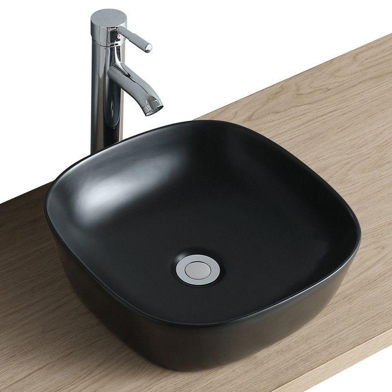 Vasque Salle de Bain à poser carrée 37 cm Noir - MIA