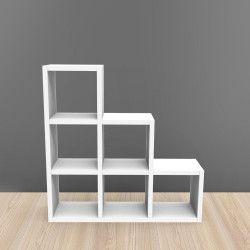 Etagère 6 Cases Escalier - Blanc - 108 x 108 cm KUBIN