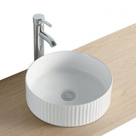 Vasque Salle de Bain à poser ronde 45 cm Blanche - LINEA