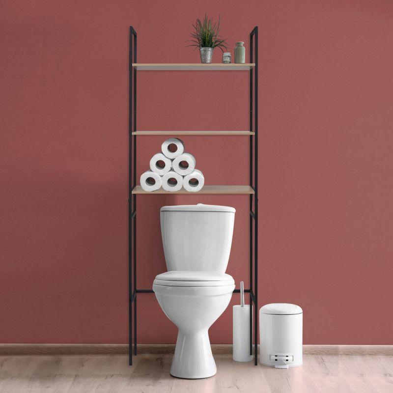 Meuble WC - Pont de rangement étagère WC en métal noir - SAO