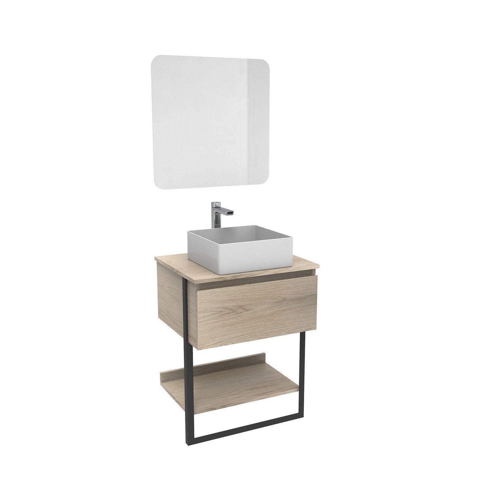 Ensemble de Salle de bain NINA Meuble 60CM + Vasque COMA + Miroir